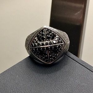 ✔️David Yurman ARMORY Black Diamond Ring Size 8